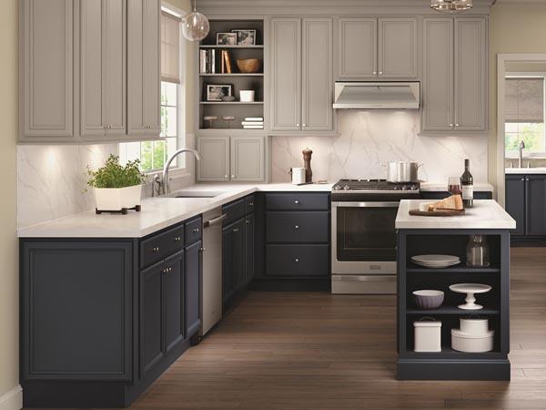 Modern, gray kitchen design featuring cabinets from Merillat and design by Seiffert Kitchen & Bath